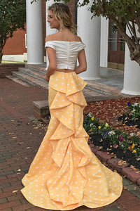 Sheath Yellow and Ivory Sleeveless Off the Shoulder Satin Prom Dresses with Ruffles