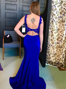 Mermaid Open Back Royal Blue Satin Sleeveless Prom Dress with Appliques and Slit