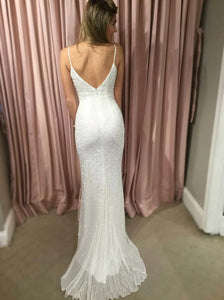 Dramatic Sleeveless  Zipper Up White Sheath Spahgetti Straps Sweep Train Sequined Evening Prom Dress