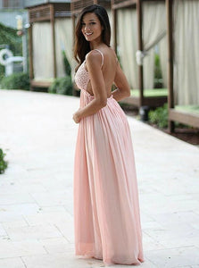 A Line Sleeveless Pink Chiffon Prom Dresses with Criss Cross