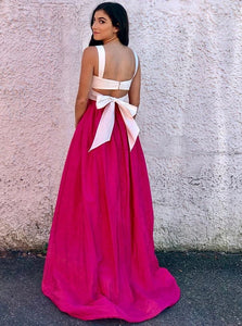 Two Piece Sexy Satin White Scoop Short Top with Lovely Bownot Fuchsia Sweep Lenght Prom Dress