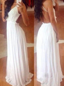 A Line Sleeveless White Chiffon and Lace Prom Dresses with Floor Length