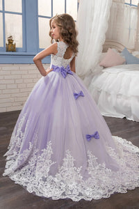 Purple Scoop Ball Gown Tulle With Applique And Bow Knot Sleeveless Flower Girl Dresses
