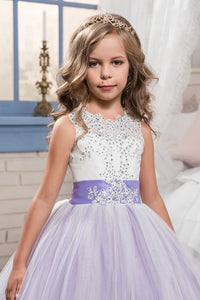 Scoop Ball Gown Tulle With Applique And Bow Knot Sweep Train Flower Girl Dresses