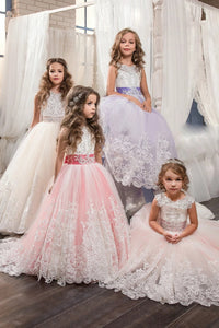 Scoop Ball Gown Tulle With Applique And Bow Knot Lace Up Flower Girl Dresses
