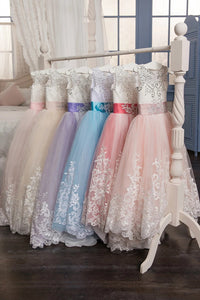 Pink Scoop Ball Gown Tulle With Applique And Bow Knot Flower Girl Dresses