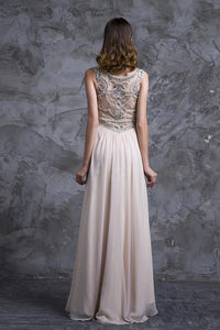 A Line Champagne Beaded Scoop Sweep Train Zipper Chiffon Prom Dresses