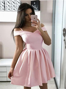 A Line Pink Satin Off the Shoulder Homecoming Dresses
