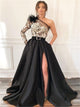 Black One Shoulder Slit Feather Applique Prom Dress LBQ1123
