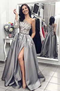 Luxurious Lace Prom Dress With One Long Sleeve Side Slit Eartha