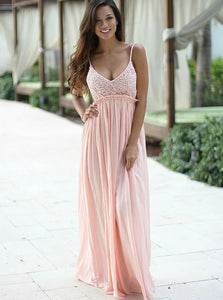 A Line V Neck Sleeveless Pink Chiffon Prom Dresses with Lace Top