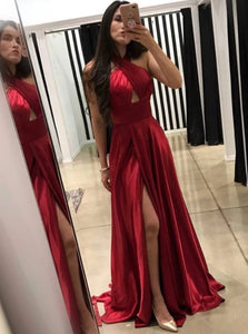 A Line Cross Neck Floor Length Dark Red Prom Dresses with Split Keyhole