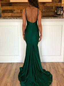 Mermaid Green V Neck Satin Prom Dresses with Sweep Train and Pleats