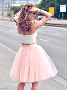 A Line Spaghetti Straps Knee Length Pearl Pink Homecoming Dresses