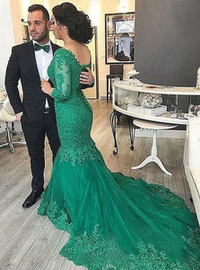 Mermaid V Neck Green Tulle Prom Dress with Lace Beading LBQ0193