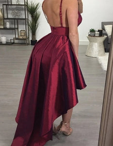 A Line Burgundy Spaghetti Straps Satin Homecoming Dress LBQH0006