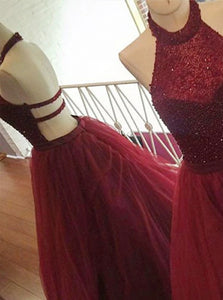 A Line Halter Open Back Dark Red Tulle Sweep Train Prom Dresses with Beadings