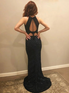 Sexy Mermaid Jewel Open Back Black Satin Prom Dress with Beadings