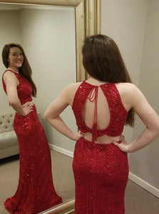 Mermaid Jewel Open Back Red Satin Prom Dresses with Beadings