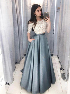 Two Piece A Line Prom Dress with Half Sleeve
