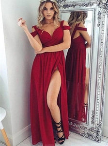 Burgundy Off The Shoulder Front Split Chiffon Floor Length Prom Dresses