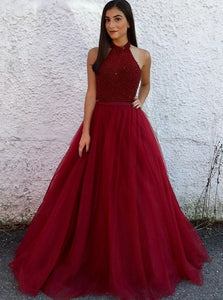 A Line Halter Open Back Dark Red Tulle Sleeveless Prom Dresses with Beadings