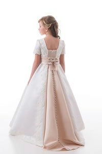 A Line Scoop Short Sleeves Sweep Train Satin Applique Flower Girl Dresses