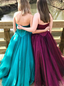 A Line Sweetheart Pleats Tulle Sleeveless Prom Dress