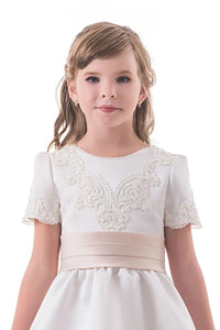 White A Line Scoop Short Sleeves Satin Applique Flower Girl Dresses