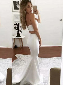 Sexy Two Piece Satin Mermaid Sweetheart Sweep Train Ivory Prom Dress with Split