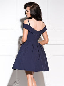 A Line Off the Shoulder Short Blue Satin Homecoming Dresses