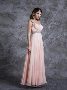 A Line Scoop Floor Length Chiffon Pink Prom Dress with Rhinestones