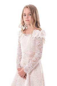 Chic Lace A Line Bateau Long Sleeves With Beads Flower Girl Dresses