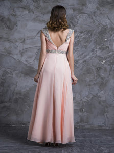 A Line Scoop Floor Length Chiffon Open Back Prom Dress with Rhinestones