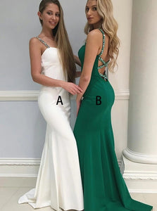 Mermaid Spaghetti Straps Satin Prom Dress with Beadings and Sweep Train