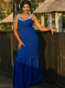 Mermaid Royal Blue Plus Size Satin Prom Dress with Beadings