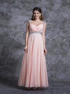 A Line V Neck Floor Length Chiffon Sleeveless Prom Dresses with Rhinestones