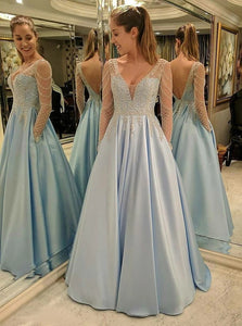 A Line V Neck Long Sleeves Blue Open Back Satin Prom Dress with Lace Beading
