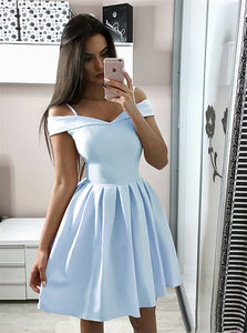 A Line Off the Shoulder Short Light Blue Homecoming Dresses