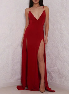 Red Spaghetti Straps Open Back Prom Dresses with Slit LBQ0118