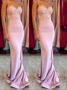 Gorgeous Pink Spaghetti Straps Mermaid Sweep Train Bridesmaid Dress