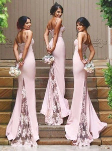 Sexy Pink Spaghetti Straps Mermaid Sweep Train Bridesmaid Dress