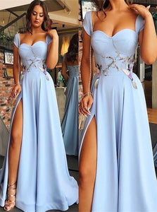 Blue Sweep Train Satin Prom Dresses