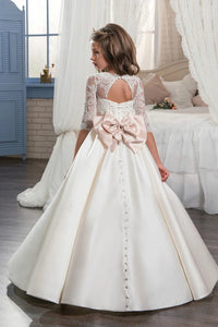 Scoop Appliques and Beadings Satin Half Sleeves Lace Up Flower Girl Dresses