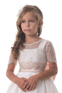 A Line Scoop Tulle Beaded Appliqued Flower Girl Dresses LBQF0008