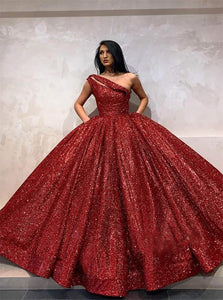 Ball Gown One Shoulder Burgundy Sequin Prom Dresses