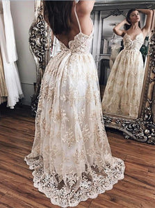 Champagne Lace and Satin Open Back V Neck Spaghetti Straps Prom Dresses with Floor Length