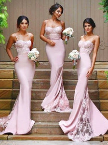 Pink Spaghetti Straps Mermaid Sweep Train Lace Bridesmaid Dress