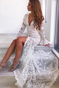 Ivory Mermaid V Neck Long Sleeves Lace Wedding Dresses with Slit