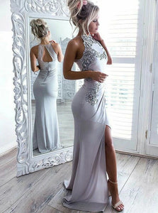 Sexy Grey Sheath Scoop Spandex Open Back Prom Dress with Appliques Split